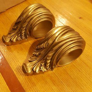 Set Of 2  Gold Drapery Swag Curtain Rod Corbels